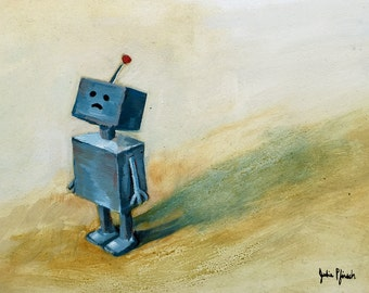 Blue Bot - Original Oil Painting on Panel