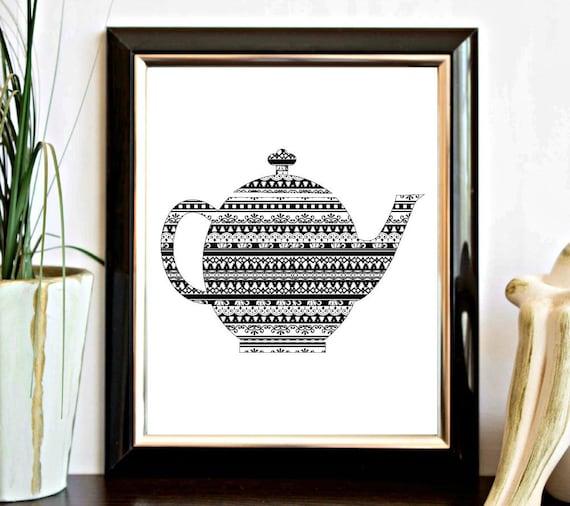 Black And White Kitchen Artwork: Tea Pot Printable Kitchen Wall Art Black And White Wall Decor