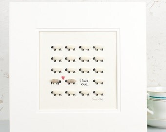 Anniversary gift, art print, sheep art, wooly sheep, I love Ewe, animal art, home decor, gift for her, gift for him, 7 year anniversary