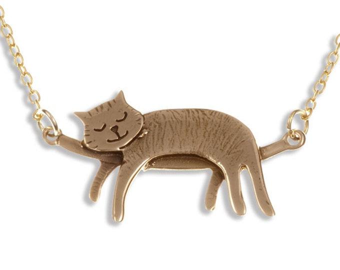 Sleeping cat necklace – bronze- Hand Made in UK