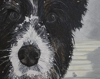 Custom Aussie dog portrait, traditional art painting on canvas, commissioned personal artwork, pet portrait for mother in law grandma sister