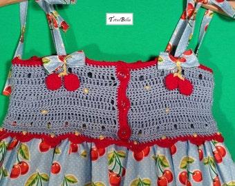 Crochet Girl Dress - Cherries, Summer Dress, Party Dress.