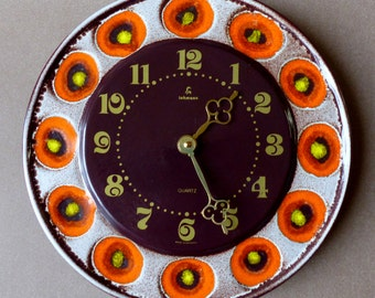 Vintage ceramic wall clock XL Lohmann West-Germany orange