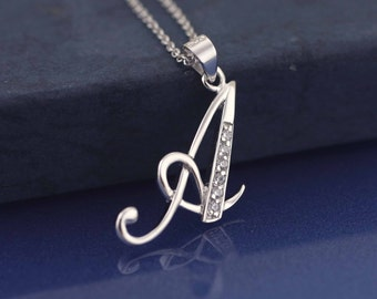 Initial Necklace, Sterling Silver Initial Necklace, Silver Initial necklace With CZ Stones, CZ Letter Initial A, Letter A Initial Necklace