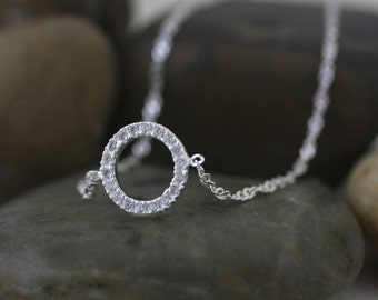 Circle Anklet, Silver Circle Anklet, Sterling Silver Circle Anklet, Sterling Silver Anklet Open Circle,  CZ Circle anklet, Modern Anklet