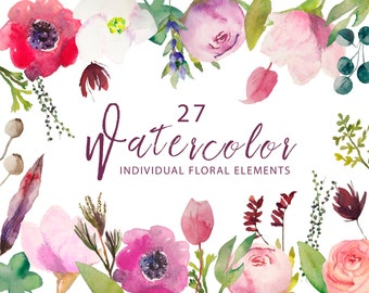 watercolor flowers clipart, watercolor floral clipart, individual flowers and leaves, for personal and small commercial use