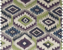 Kilim Aztec Geometric Printed Pattern Purple Green White Upholstery Fabric For Soft Furnishings Chairs Curtains Sofas - Sold By The Metre
