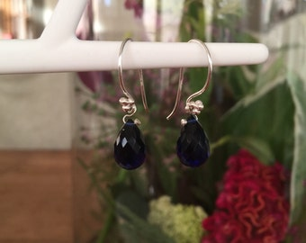 Silver earrings with sapphire blue quarts drops
