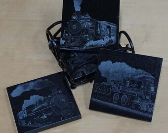 Vintage Train Theme Coaster Set ~ Engraved Granite Coasters ~ Vintage Trains ~ Steam Engine