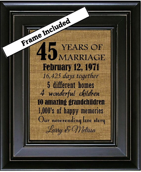 Personalized 45th Anniversary Gift 45 Year By BurlapNGlass