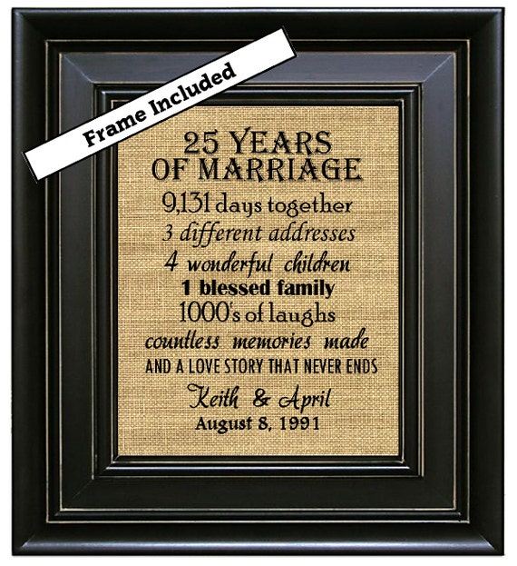 25th Anniversary Gift 25 Years Of Marriage By BurlapNGlass