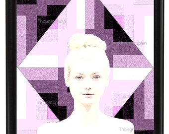 Haunting Woman Portrait Art Print 8 x 10 – Pop Art Surreal Artwork - Psychedelic Trippy Geometric Background