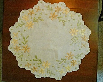 Embroidered Table Cover Centerpiece, Arts and Crafts, Craftsman Mission Style, Yellow Flowers, Green Leaves