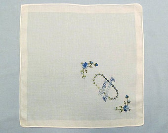 Happy Anniversary Handkerchief, White Linen with Blue Embroidered Flowers