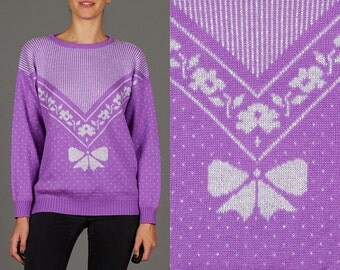 Vintage 80s Lilac Purple & Silver Lurex Medium / Large Sweater with Bow Motif