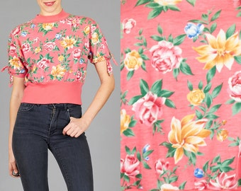 ON SALE Vintage 90s Small / Medium Pink Floral Top with Unique Tie Sleeves