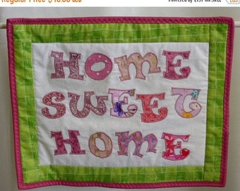 ON SALE Home sweet home mini wall hanging, hand made wall hanging, pink white & green