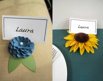 Sunflower and Dahlia Place Card Holders, Paper Flowers - Set of 10