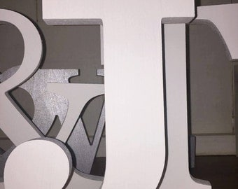White wooden letters etsy for Standing wood letters to paint