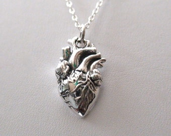 Anatomical heart necklace vintage anatomy heart antique silver and bronze pendant jewelry for men and women Christmas gift