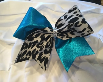 Turquoise and Cheetah Cheer Bow