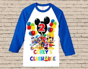 Mickey Mouse Clubhouse Birthday Shirt - Raglan Boys Birthday Shirt Available
