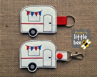 camper key fob AND snap tab embroidery applique design 4x4 5x7 hoop monogramming SEW pes DST & more Instant Download! bean stitch, monogram