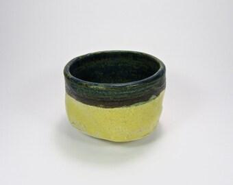 Japanese ceramic Tea cup--Stoneware-Gift-Raw-Yellow-Blu-Design-Organic-Abstract-Artistic-Functional-Food-Craft-Handmade-WabiSabi