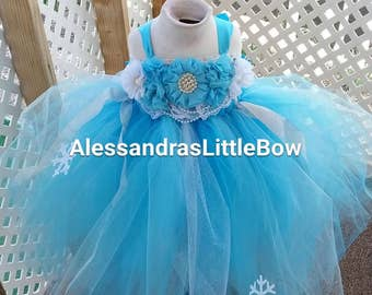 Frozen couture birthday dress, winter wonderland tutu dress, white and turquoise tutu dress, frozen first birthday outfit, frozen dress