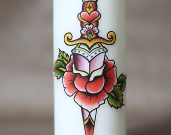 Tattoo flash style pillar candle