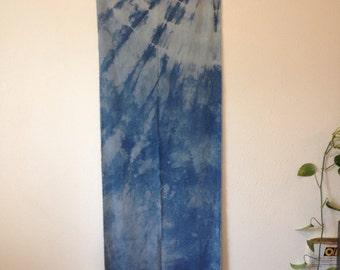 Raw Silk Scarf Naturally Tie-Dyed with Indigo