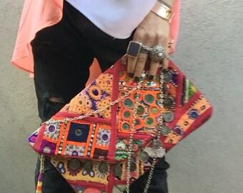 Vintage Clutch Bag, Banjara Clutch Bag, Red Clutch Bag, Gypsy Clutch, Boho Clutch called Nova Red