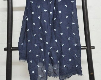 Anchor Scarf, Nautical Scarf, Navy Blue Scarf, Embroidered Scarf.