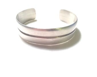 Vintage Weiss engraveable 925 sterling silver cuff bracelet