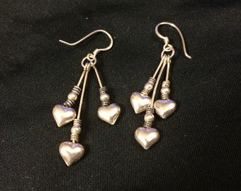 Vintage 925 sterling silver fish hoop drop hearts earrings