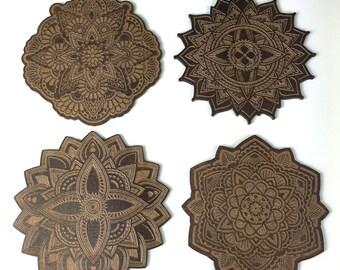 Mandala Coasters / Laser Cut / Drink coasetrs / Set of 4