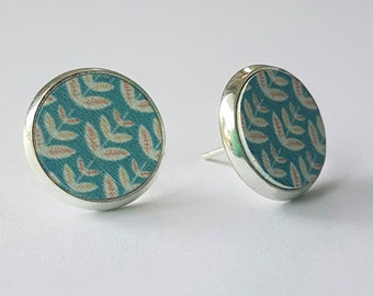 SALE Hand painted wooden disc in silver plated earring settings.