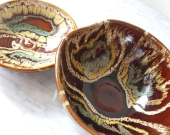 Pinecroft Pottery Bowls Vintage 1960's Canadian Studio Pottery Bowl Set Brown Yellow Blue Pottery Bowls Mid Century Modern Studio Pottery