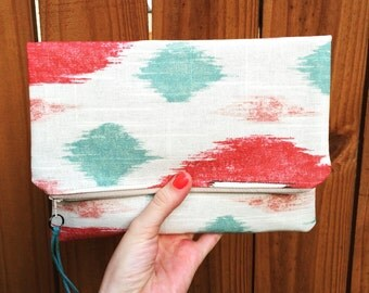 Aztec mint coral fold over clutch purse