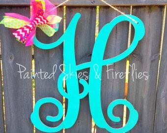 Monogram door hanger / wood door hanger / letter door hanger / wedding decor / Gift /  engagement / front door decor / Personalized