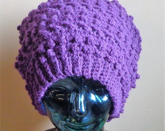 Crochet Adult Purple Wool Blend Slouchy Hat. Ready to Ship.