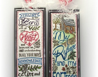 Handmade bookmarks, Set of two bookmarks, Hand Colored Bookmarks, Bible Bookmarks, Trust in the Lord, Bible Verse Bookmarks, Sewn Bookmarks