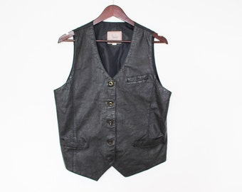 Black Leather Waistcoat Womens Black Leather Vest Biker Motorcycle Traditional Country Waistcoat Size Large