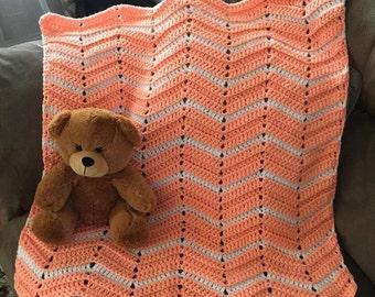 Crocheted Chevron Baby Infant Toddler Blanket Christening Blanket Baby Shower Gift Receiving Blanket Swaddling Blanket