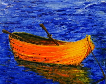 ORIGINAL ART Modern Painting Palette Knife Textured Painting Seascape Boats