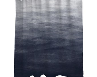 "Navy Blue Grey Ombre Watercolor Shower Curtain/  Bath Curtain/ Standard Length (71""x74"" ) Made To Order"