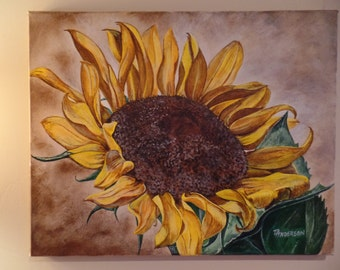 """Original """"Sunflower Study I"""" Unframed Acrylic Painting on a Stretched Gallery Canvas. #16-058"""