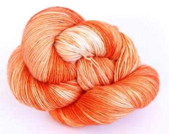 Hand Dyed Sock Yarn - Oakhampton 50/50 Merino Silk Sock Yarn - Carrots in Bright Orange Shades