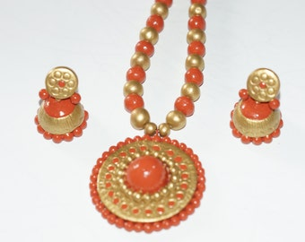 PAPRIKA Color necklace terracotta jewelry set