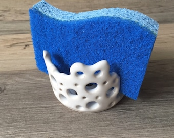 Ceramic Coral Sponge Holder for your Kitchen Sink, Porcelain Clay and Glaze, Pottery